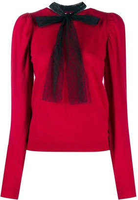 RED Valentino Bow-Embellished Crew Neck Jumper