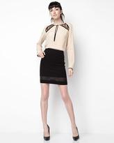 Nanette Lepore Visual Silk Top, Licorice/Ivory