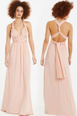 Goddiva Oasis Wear It Your Way Dusty Pink Maxi Dress