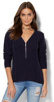 New York & Co. Zip-Accent Hi-Lo Tunic Sweater