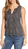 Lucky Brand Women's Beaded Embroidered Top