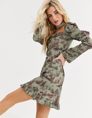 New Girl Order square neck tea dress in vintage scenic print