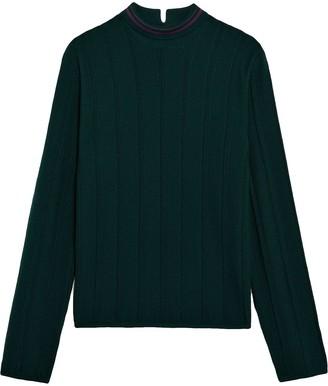 Mackintosh 0003 Green & Burgundy Cotton Blend 0003 V-Neck Sweater