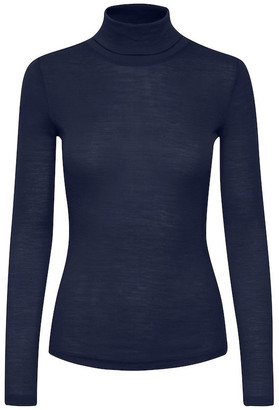 Alluring Boutique - Wool Tee Wilma Long Sleeved Peacoat - L