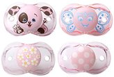 Razbaby Keep-It-Kleen Pacifiers - Pack of 4 (Rosa Penguin, Betty Butterfly, Pink Hearts & Flowers, Pink Polka Dots)