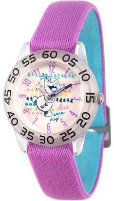 Disney Frozen Olaf Girls' Clear Plastic Time Teacher Watch, Reversible Purple and Blue Nylon Strap
