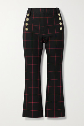 Derek Lam 10 Crosby Robertson Cropped Button-embellished Checked Stretch-cotton Twill Flared Pants - Black