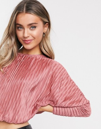 ASOS DESIGN bubble hem batwing plisse top in pink