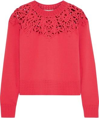 Jonathan Simkhai Cropped Macrame-paneled Knitted Sweater