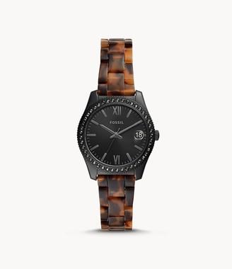 Fossil Scarlette Mini Three-Hand Date Tortoise Acetate Watch jewelry