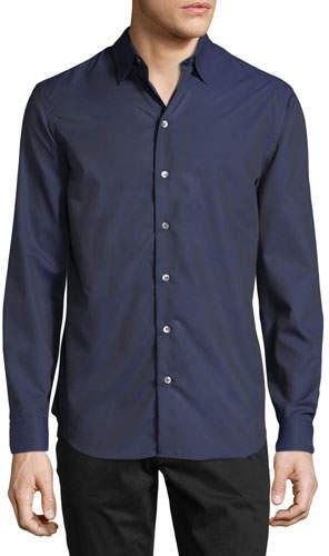 Emporio Armani Men's Tonal Geo-Print Woven Sport Shirt