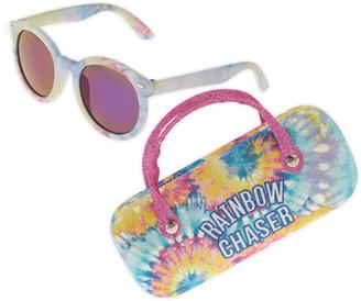 Capelli New York Rainbow Chaser Sunglasses & Glitter Case Set
