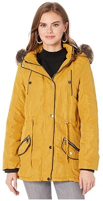 YMI Snobbish Faux Fur Lined Parka with Faux Fur Trim Hood (Black) Women's Clothing