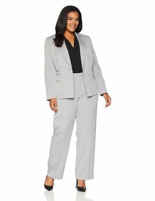 Le Suit LeSuit Women's 1 Button Peak Lapel Herringbone Pant Suit