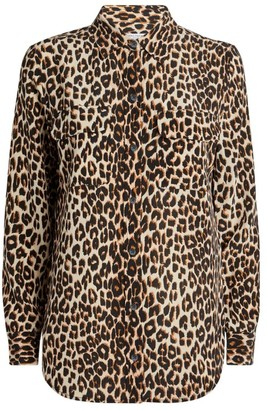Equipment Leopard Print Silk Shirt