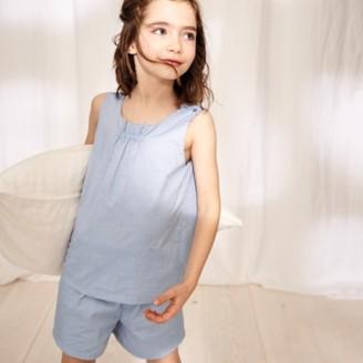 The White Company Chambray Shortie Pyjamas (1-12yrs), Blue, 1-1 1/2yrs
