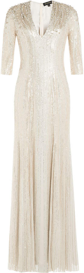 Jenny Packham Floor Length Embellished Silk Dress