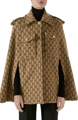 Gucci Double G Monogram Wool Cape