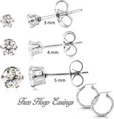 Prana Stainless Steel Round Clear Cubic Zirconia Stud Earring 3 Pairs and Hoop Stainless Steel Earings