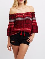 Charlotte Russe Printed Off-The-Shoulder Tie-Front Top