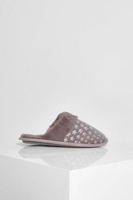 boohoo Star Embossed Velvet Slippers