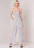 Missy Empire Luisa White Striped Wide Leg Strappy Jumpsuit