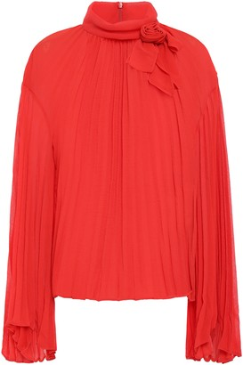 Philosophy di Lorenzo Serafini Bow-embellished Pleated Georgette Blouse