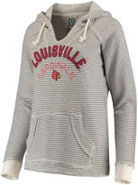 Unbranded Women's Blue 84 Cream Louisville Cardinals Striped French Terry V-Neck Pullover Hoodie