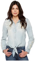 Blank NYC Denim Embroidered Shirt with Knotting Detail in Washed Up Women's Long Sleeve Button Up