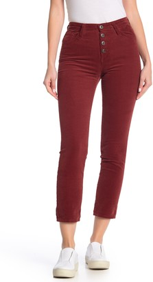 AG Jeans The Isabelle Button High Waist Ankle Straight Leg Jeans