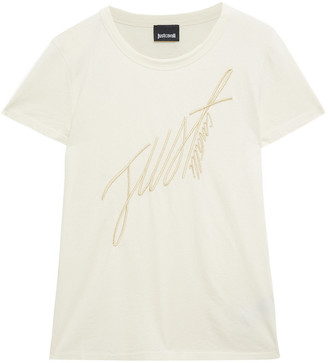 Just Cavalli Embroidered Cotton-jersey T-shirt
