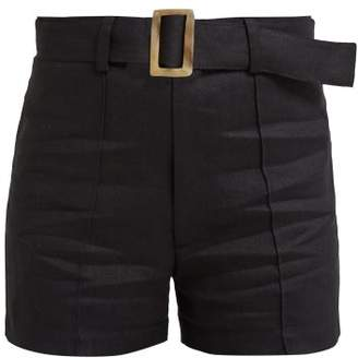 Lisa Marie Fernandez Belted Linen Shorts - Womens - Black