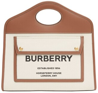 Burberry Small Two-Tone Pocket Tote Bag