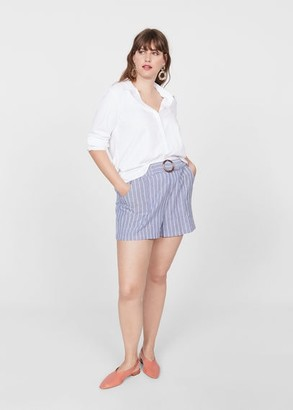 MANGO Violeta BY Cotton striped shorts dark navy - XS - Plus sizes