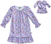 Dollie & Me Purple Unicorn Ruffle-Trim Nightgown & Doll Outfit - Girls