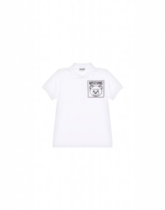 Moschino Teddy Label Polo Shirt Unisex White Size 4a It - (4y Us)