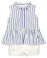 Ralph Lauren Baby's Two-Piece Striped Peplum Top & Bloomers Set