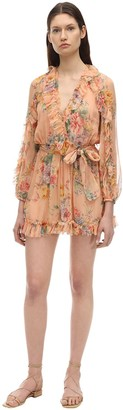 Zimmermann Printed Silk Chiffon Playsuit