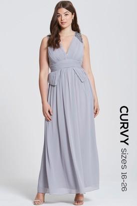 Little Mistress Curvy Grey Plunge Peplum Maxi Dress