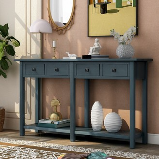 Overstock Antique Navy Wooden Entryway Console Table with Drawer