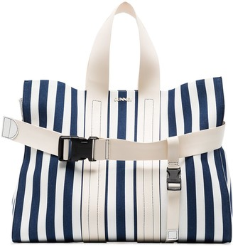 Sunnei Striped Buckle Detail Tote Bag