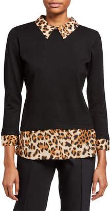 Neiman Marcus Twofer Spread Collar Pullover