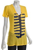 canary v-neck 'fishbone' t-shirt