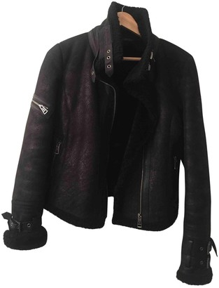 Ventcouvert Black Shearling Leather Jacket for Women