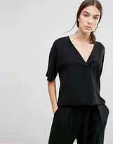 French Connection Arrow Crepe Wrapover Top