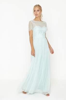 Bridesmaid Mint Lace Overlay Maxi Dress