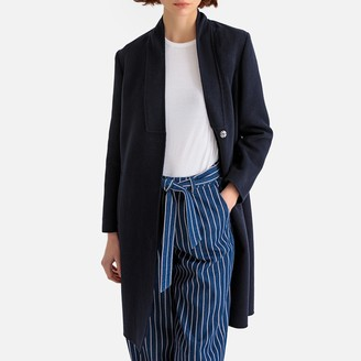 La Redoute Collections Single-Breasted Boyfriend Coat in Wool Mix with Pockets