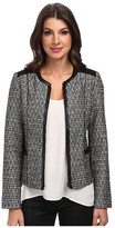 NYDJ Metallic Leather Tweed Jacket