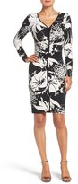 Adrianna Papell Ruched Print Jersey Sheath Dress