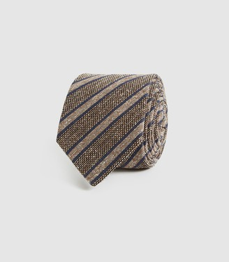 Reiss Duncan - Silk Blend Striped Tie in Mid Brown